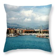 Harbor Scene In Nice France Throw Pillow