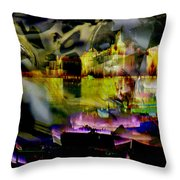 Harbor Scene Through A Vodka Bottle Throw Pillow