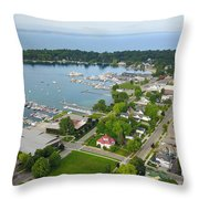 Harbor Springs From Above Throw Pillow