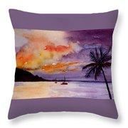 Harbor Sunset Kauai Hawaii Throw Pillow