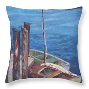 Harbor View So. Freeport Wharf Throw Pillow