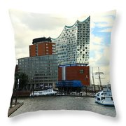 Harbor View With Elbphilharmonie Throw Pillow