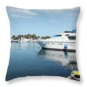 Harbor With Yacht And Boats Throw Pillow