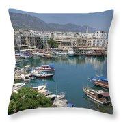 Harbour At Kyrenia Throw Pillow