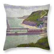 Harbour At Port En Bessin At High Tide Throw Pillow by Georges Pierre Seurat