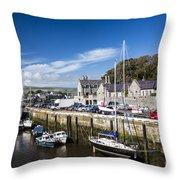 Harbour At Port Erin Throw Pillow