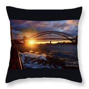 Harbour Bridge Sunset By Kaye Menner Throw Pillow