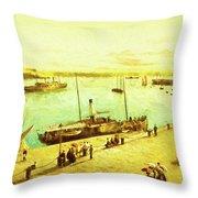 Harbour Parasols Throw Pillow by Sarah Vernon