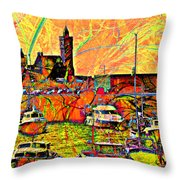 Harbour View Porthleven Cornwall Throw Pillow