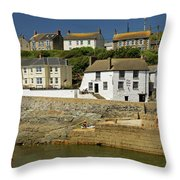 Harbourside Buildings - Porthleven Throw Pillow