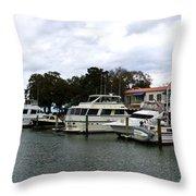 Harbourtown Marina Panorama Throw Pillow