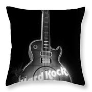 Hard Rock Cafe Sign B-w Throw Pillow