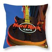 Hard Rock Guitar Detroit Throw Pillow