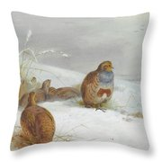Hard Times Partridges By Thorburn Throw Pillow