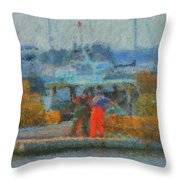 Hard Work At Lobster Dock Boothbay Harbor Maine Throw Pillow