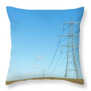 Hardly A Cloud In The Sky As Pylons Distribute Energy Through The Region. Throw Pillow