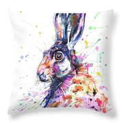 Hare In Grass Throw Pillow