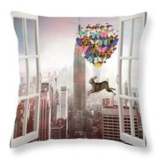 Hare In Nyc Throw Pillow