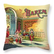 Harem Vintage Fruit Packing Crate Label C. 1920 Throw Pillow