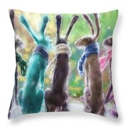 Hares With Scarves Throw Pillow