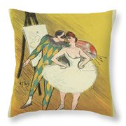 Harlequin And Columbine Throw Pillow