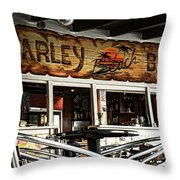 Harley Beach Bar Throw Pillow by Jasna Buncic
