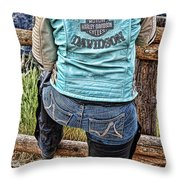 Harley Chick Throw Pillow