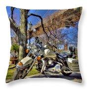 Harley Davidson And Brooklyn Bridge Throw Pillow