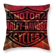 Harley Davidson Logo Confederate Flag Throw Pillow