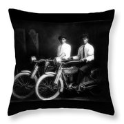 William Harley And Arthur Davidson, 1914 -- The Founders Of Harley Davidson Motorcycles Throw Pillow