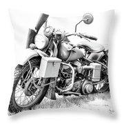 Harley Davidson Military Motorcycle Bw Throw Pillow