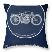 Harley Davidson Model 10b 1914, For Some There's Therapy, For The Rest Of Us There's Motorcycles Throw Pillow