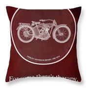 Harley Davidson Model 10b 1914 For Some There's Therapy, For The Rest Of Us There's Motorcycles, Red Throw Pillow