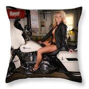 Harley Davidson Motorcycle Babe Throw Pillow