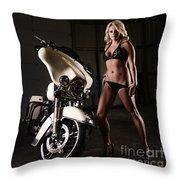 Harley Davidson Motorcycle Bikini  Throw Pillow