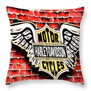 Harley Davidson Wings Throw Pillow