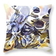 Motorcycle In Watercolor Throw Pillow