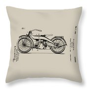 Harley Motorcycle Patent Throw Pillow