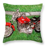 Harley Red Sportster Motorcycle Throw Pillow