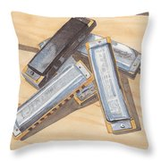 Harmonica Pile Throw Pillow