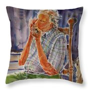 Harmonica Player And A Howler Throw Pillow
