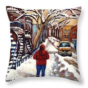 Winter Walk After The Snowfall Best Montreal Street Scenes Paintings Canadian Artist Paysage Quebec Throw Pillow