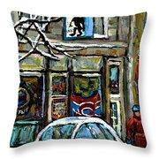 Achetez Les Meilleurs Scenes De Rue Montreal St Henri Cafe Original Montreal Street Scene Paintings Throw Pillow