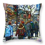Buy Best Original Canadian Winter Scene Art Downtown Montreal Paintings Achetez Scene De Rue Quebec  Throw Pillow