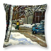 Canadian Artist Winter Scenes Original Paintings Quebec Streets Achetez  Montreal Art Online Throw Pillow