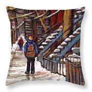 Canadian Art Winter Streets Original Paintings Verdun Montreal Quebec Scenes Achetez Les Meilleurs Throw Pillow