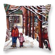 Canadian Winter Scene Paintings Original Art Verdun Montreal Achetez Scenes De Rue Quebec C Spandau  Throw Pillow