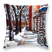 Canadian Winter Scene Paintings Original Art Verdun Montreal Achetez  Paysages De Quebec C Spandau Throw Pillow