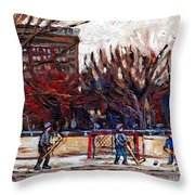 Paysages De Quebec Petits Formats A Vendre Hockey Rink Paintings Psc Original Montreal Street Scenes Throw Pillow