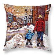 Original Montreal Street Scene Paintings For Sale Winter Walk After The Snowfall Best Canadian Art Throw Pillow